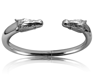 Sterling Silver Horse Head Smooth, Hinged Bracelet