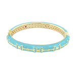 Baby Blue Gold Equestrian Stirrup Bangle