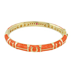 Bright Orange Equestrian Gold Bangle