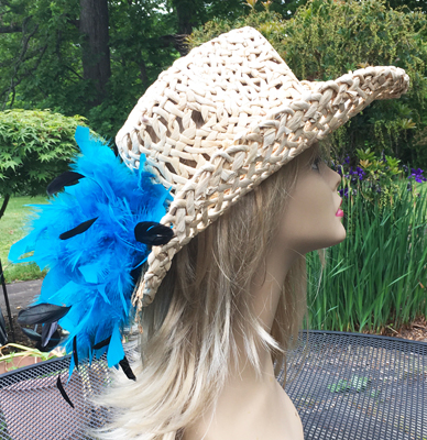 Natural Breezy Cowgirl w Blue Tickle Corsage