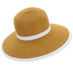 Natural Backless Paper Braid Hat White Trim