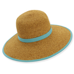 Natural Backless Paper Braid Hat Turquoise