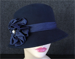 Navy Cloche w/Pearl Button