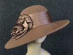 Camel Wide Brim w/Satin Ribbon Accent