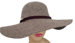 Heathered Grey Felt Hat w/Jeweled Butterfly Pin