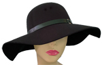 Black Felt Hat w/Black Leatherette Band